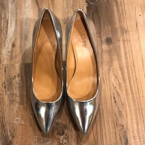 NEW J.Crew Esme Silver Patent Leather Kitten Heels